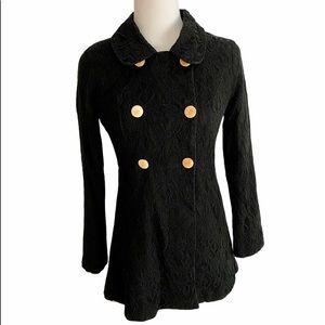 Francescas Black Lace Texture Double Breasted Coat